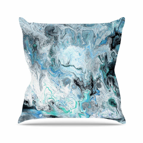 "Catherine Holcombe ""Wave Crash Marble"" Blue Teal Abstract Coastal Painting Outdoor Throw Pillow"