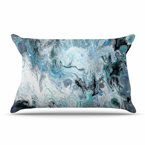 "Catherine Holcombe ""Wave Crash Marble"" Blue Teal Abstract Coastal Painting Pillow Sham"