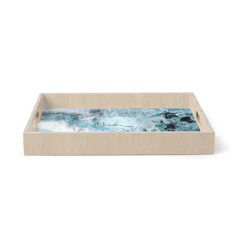 "Catherine Holcombe ""Wave Crash Marble"" Blue Teal Abstract Coastal Painting Birchwood Tray"