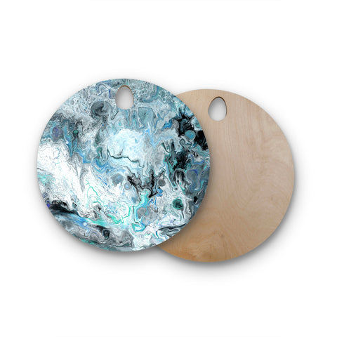 "Catherine Holcombe ""Wave Crash Marble"" Blue Teal Abstract Coastal Painting Round Wooden Cutting Board"