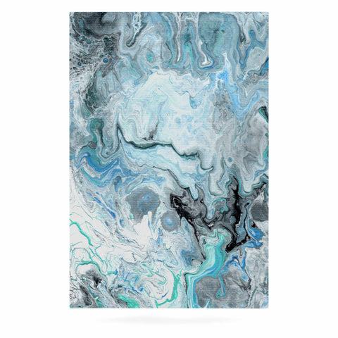 "Catherine Holcombe ""Wave Crash Marble"" Blue Teal Abstract Coastal Painting Luxe Rectangle Panel"