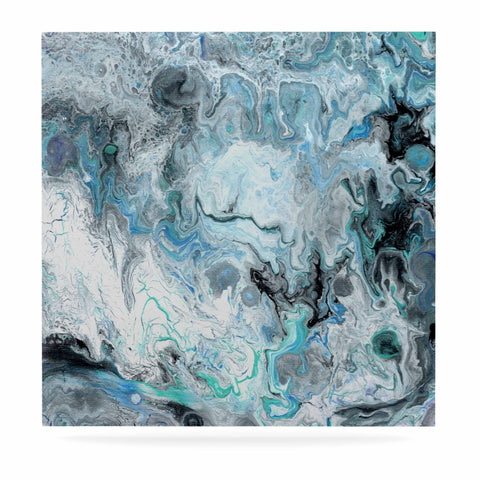 "Catherine Holcombe ""Wave Crash Marble"" Blue Teal Abstract Coastal Painting Luxe Square Panel"