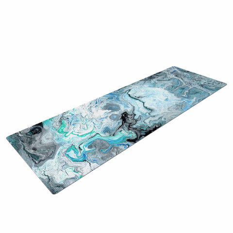 "Catherine Holcombe ""Wave Crash Marble"" Blue Teal Abstract Coastal Painting Yoga Mat"