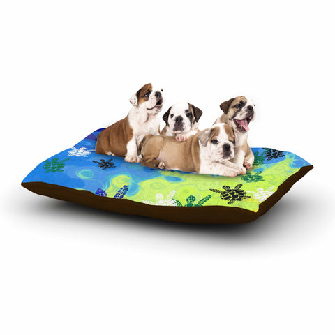 "Catherine Holcombe ""Ocean Freedom"" Blue Green Coastal Animals Mixed Media Illustration Dog Bed"