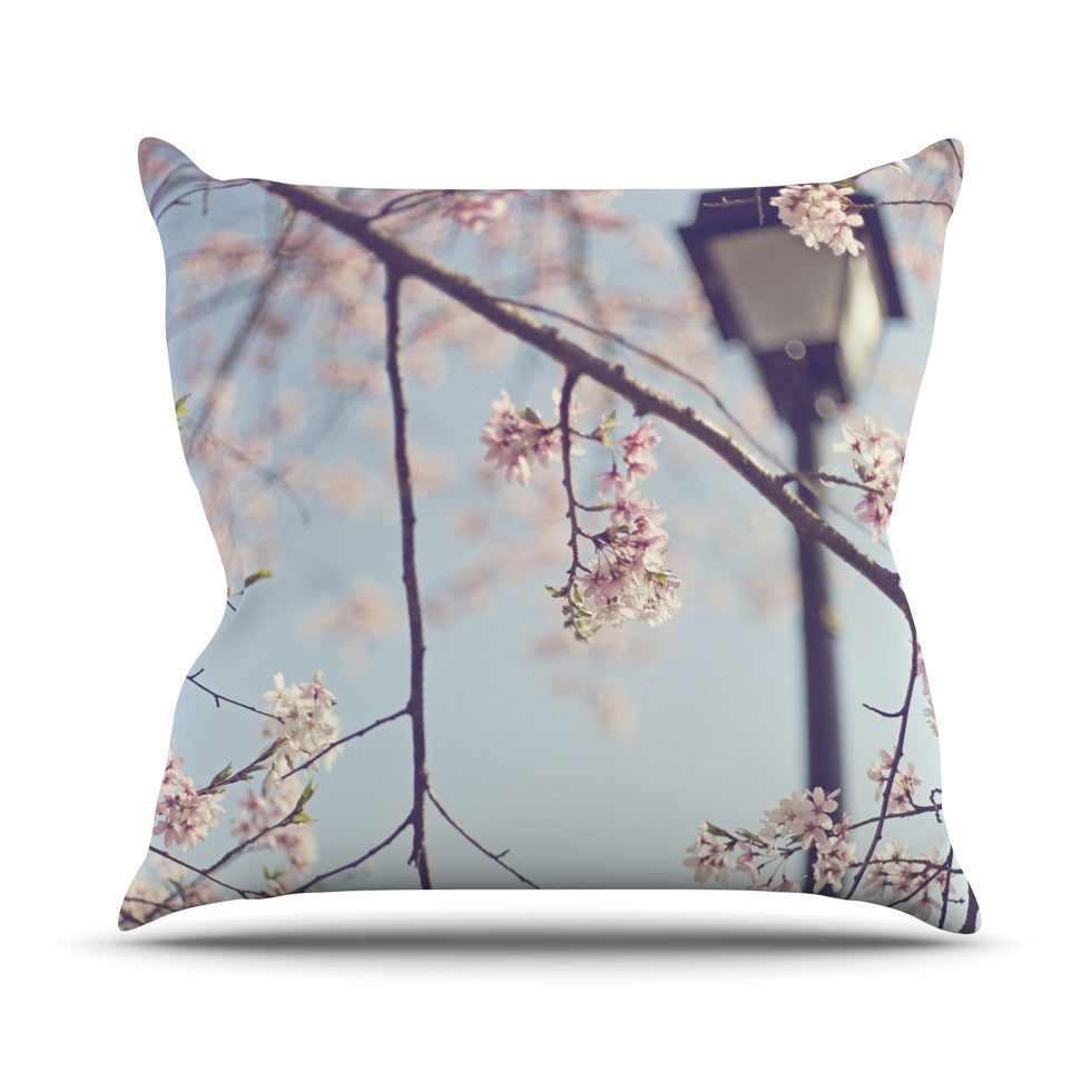 "Catherine McDonald ""Walk with Me"" Cherry Blossom Outdoor Throw Pillow - KESS InHouse  - 1"
