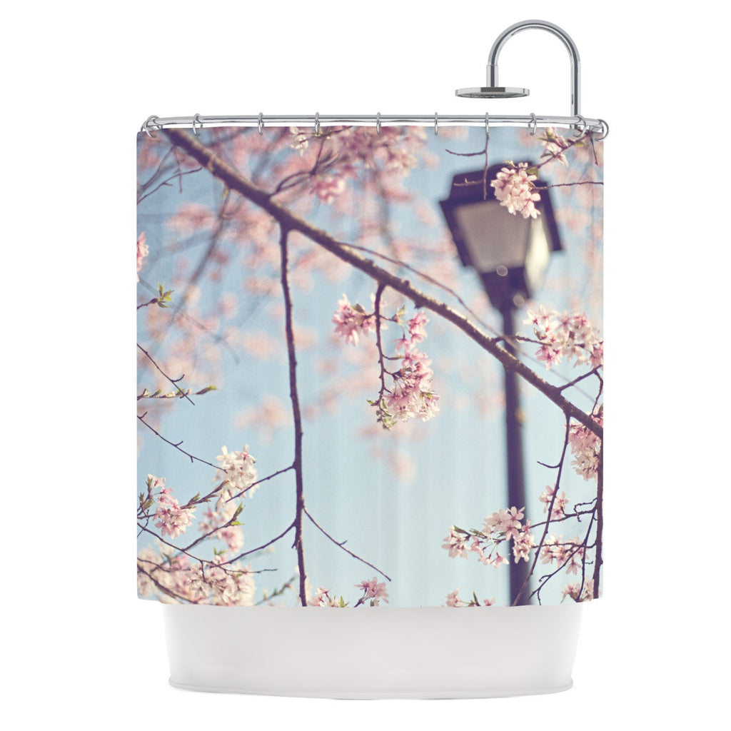 "Catherine McDonald ""Walk with Me"" Cherry Blossom Shower Curtain - KESS InHouse"