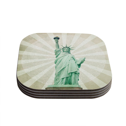"Catherine McDonald ""The Lady"" Statue of Liberty Coasters (Set of 4) - Outlet Item"