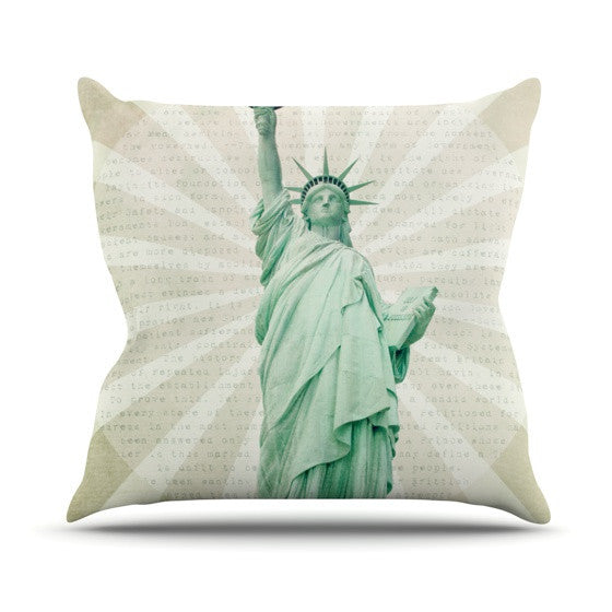 "Catherine McDonald ""The Lady"" Statue of Liberty Outdoor Throw Pillow - KESS InHouse  - 1"