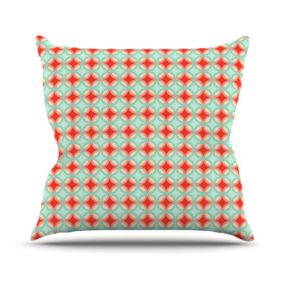 "Catherine McDonald ""Retro Circles"" Outdoor Throw Pillow - KESS InHouse"