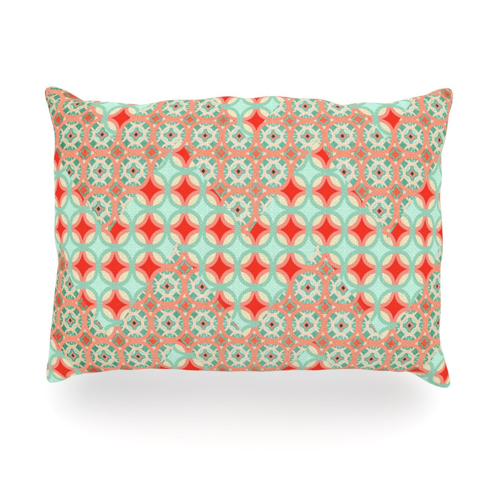 "Catherine McDonald ""Traveling Caravan"" Red Pattern Oblong Pillow - KESS InHouse"