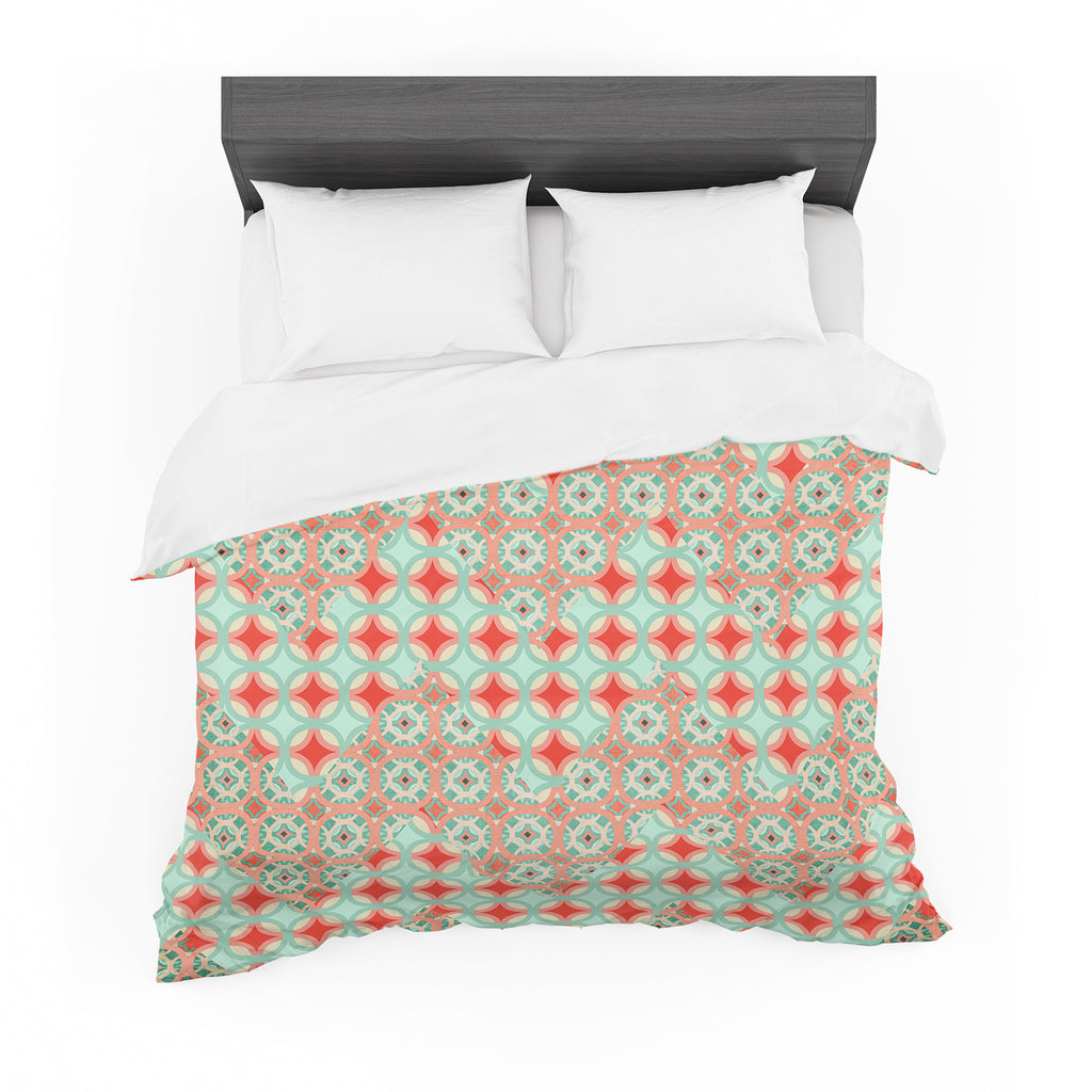 "Catherine McDonald ""Traveling Caravan"" Red Pattern Featherweight Duvet Cover"