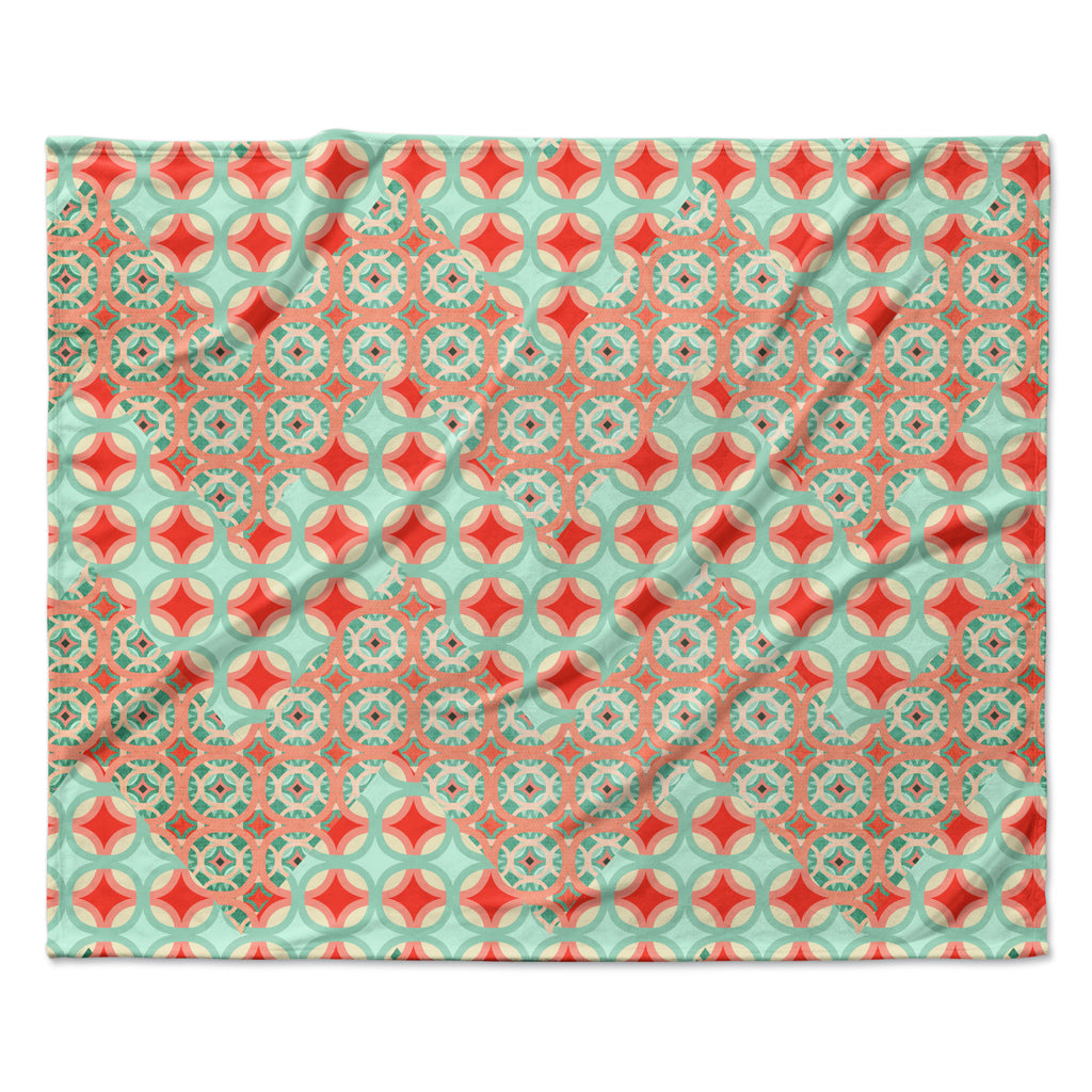 "Catherine McDonald ""Traveling Caravan"" Red Pattern Fleece Throw Blanket"