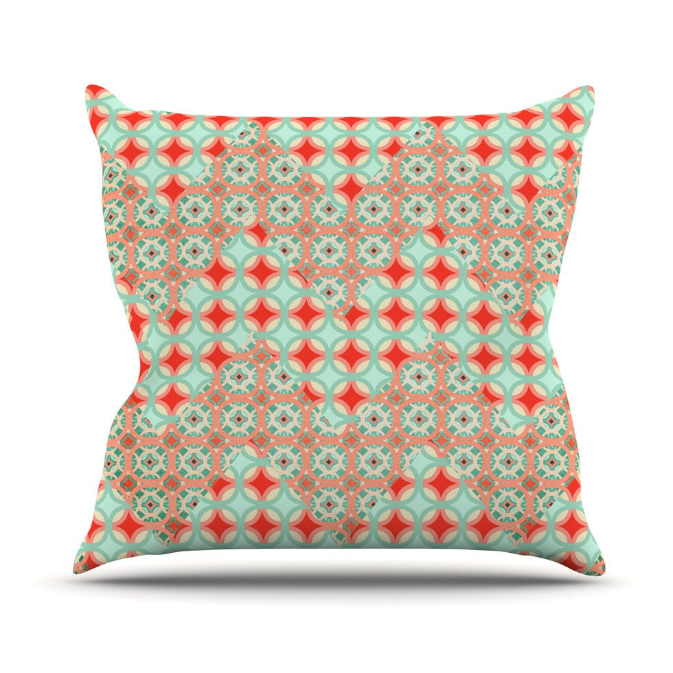 "Catherine McDonald ""Traveling Caravan"" Red Pattern Outdoor Throw Pillow - KESS InHouse  - 1"