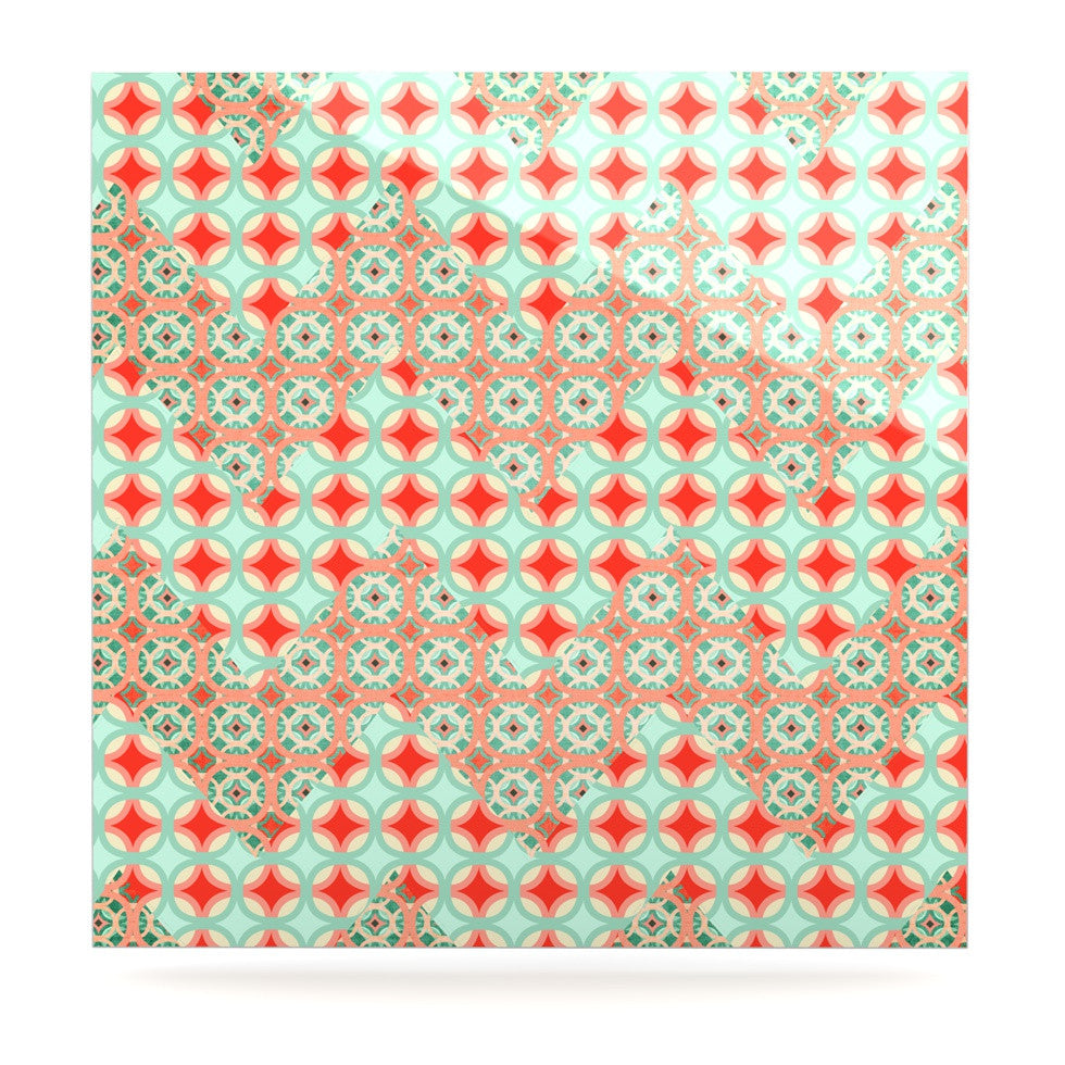 "Catherine McDonald ""Traveling Caravan"" Red Pattern Luxe Square Panel - KESS InHouse  - 1"