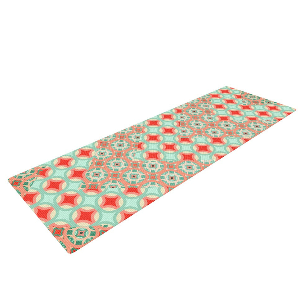 "Catherine McDonald ""Traveling Caravan"" Red Pattern Yoga Mat - KESS InHouse  - 1"