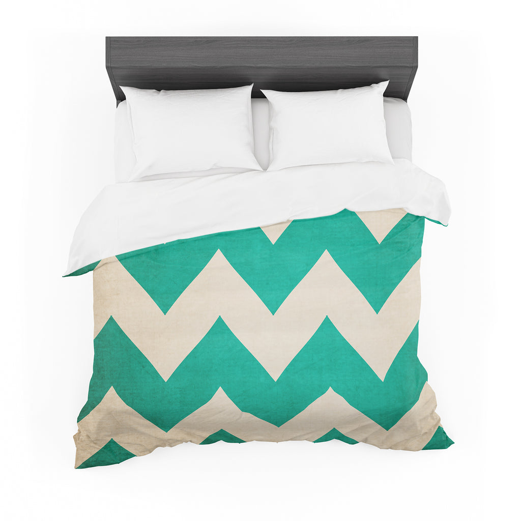 "Catherine McDonald ""2013"" Teal Chevron Cotton Duvet"
