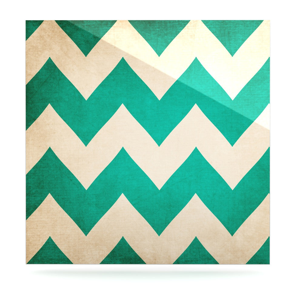 "Catherine McDonald ""2013"" Teal Chevron Luxe Square Panel - KESS InHouse  - 1"