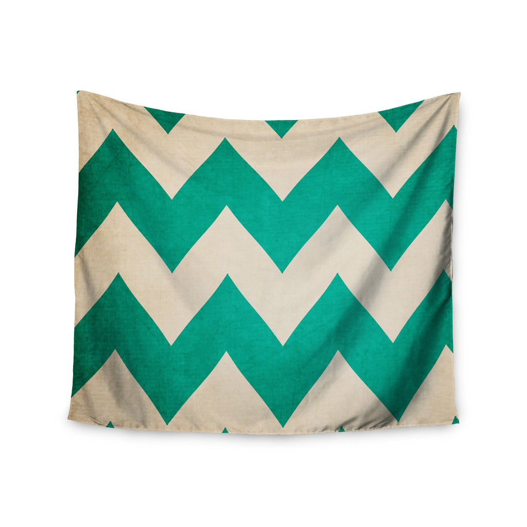 "Catherine McDonald ""2013"" Teal Chevron Wall Tapestry - KESS InHouse  - 1"