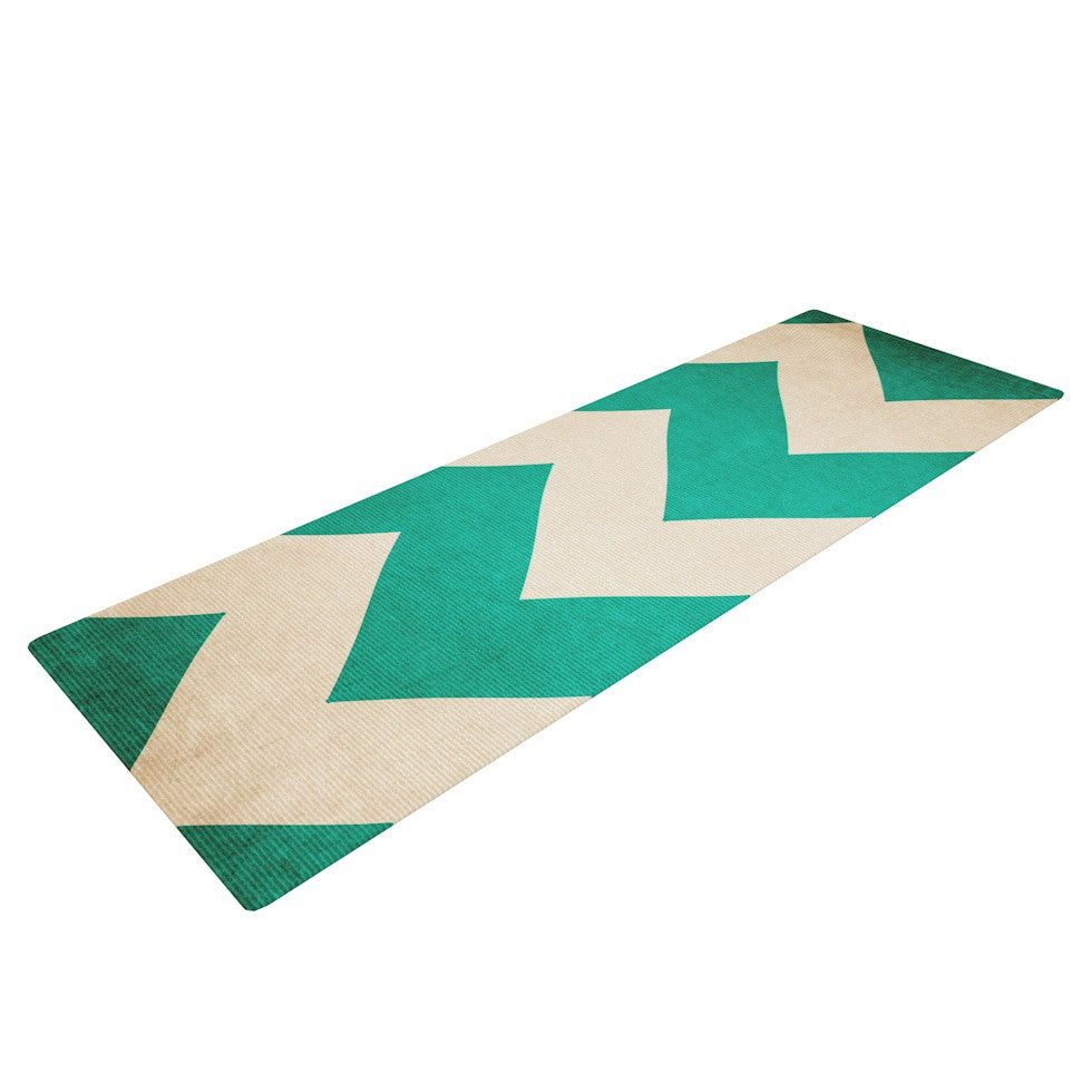 "Catherine McDonald ""2013"" Teal Chevron Yoga Mat - KESS InHouse  - 1"