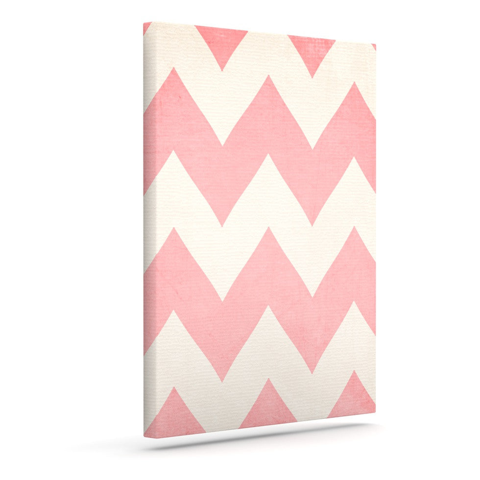 "Catherine McDonald ""Sweet Kisses"" Pink Chevron Outdoor Canvas Wall Art - KESS InHouse  - 1"