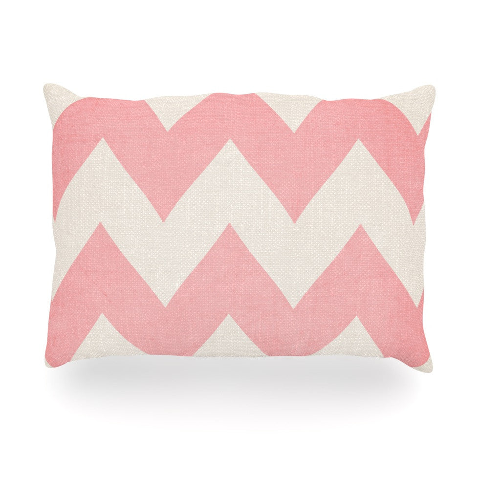 "Catherine McDonald ""Sweet Kisses"" Pink Chevron Oblong Pillow - KESS InHouse"