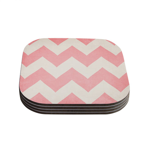 "Catherine McDonald ""Sweet Kisses"" Pink Chevron Coasters (Set of 4) - Outlet Item"