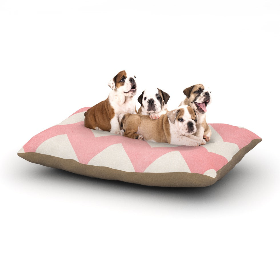 "Catherine McDonald ""Sweet Kisses"" Pink Chevron Dog Bed - KESS InHouse  - 1"