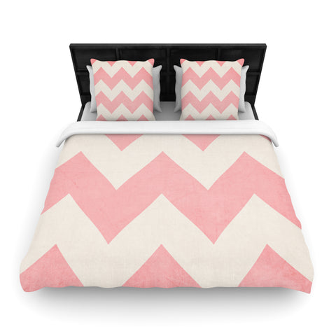 "Catherine McDonald ""Sweet Kisses"" Pink Chevron Woven Duvet Cover - Outlet Item"