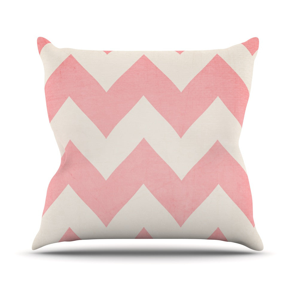 "Catherine McDonald ""Sweet Kisses"" Pink Chevron Throw Pillow - KESS InHouse  - 1"