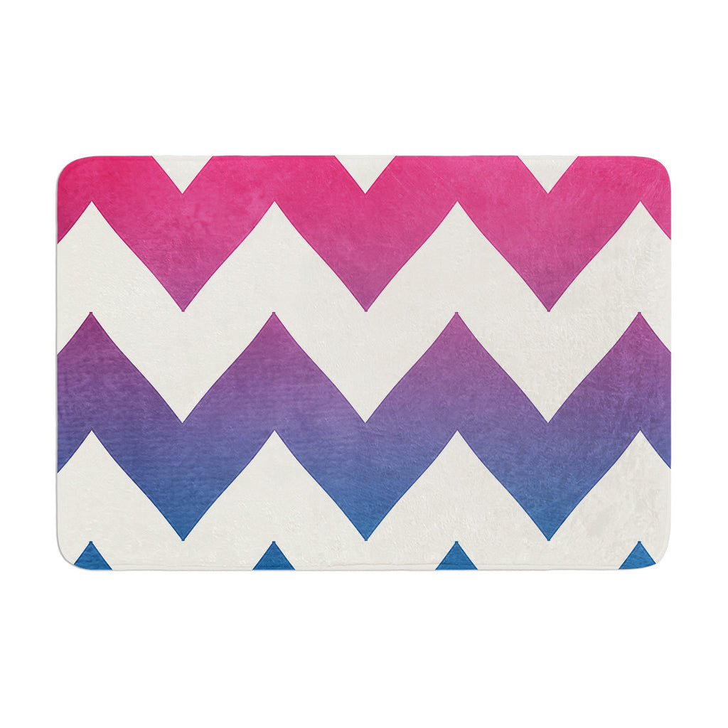 "Catherine McDonald ""Fade to Blue"" Chevron Memory Foam Bath Mat - KESS InHouse"