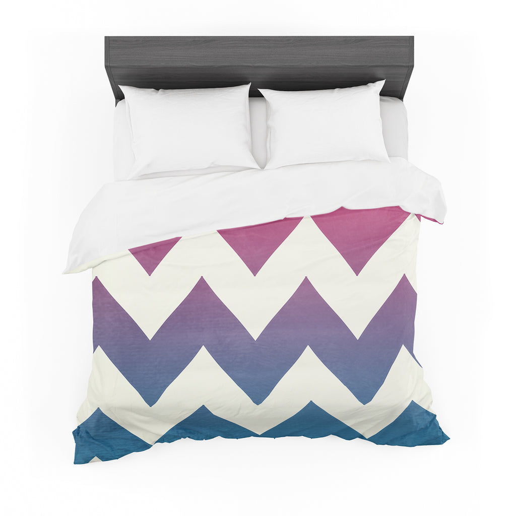 "Catherine McDonald ""Fade to Blue"" Chevron Featherweight Duvet Cover"