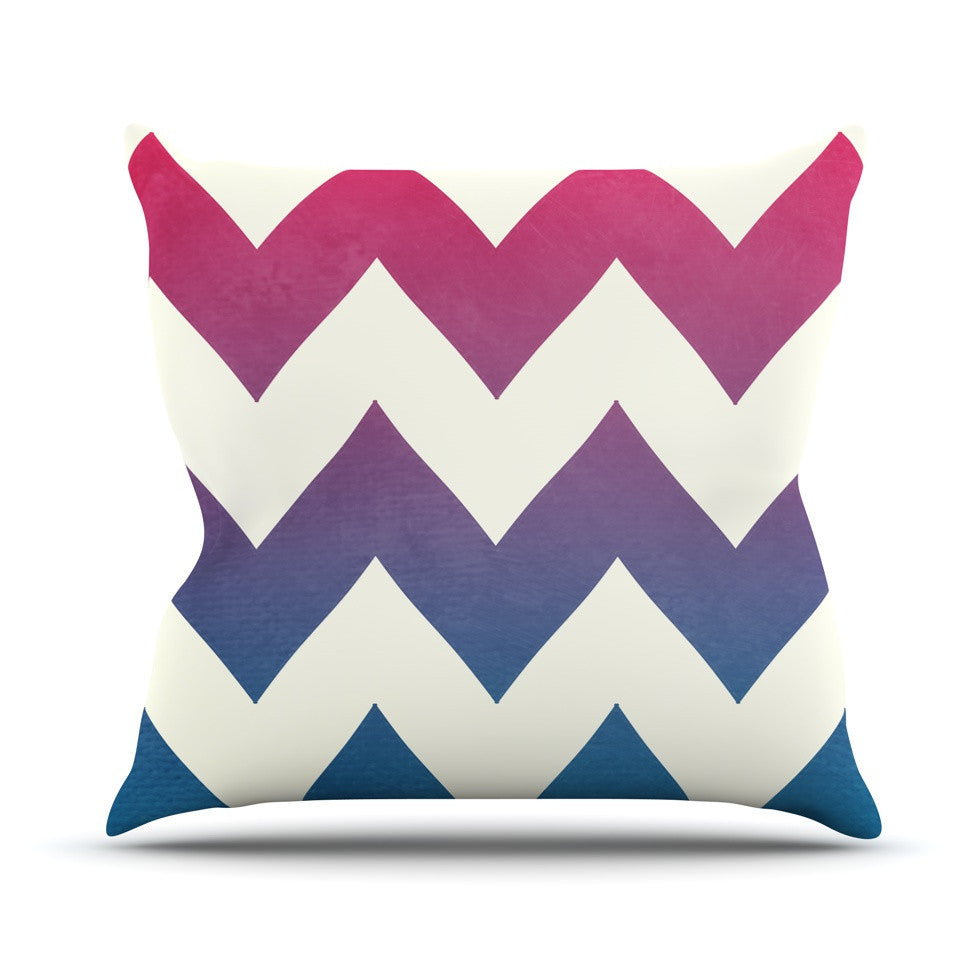 "Catherine McDonald ""Fade to Blue"" Chevron Outdoor Throw Pillow - KESS InHouse  - 1"