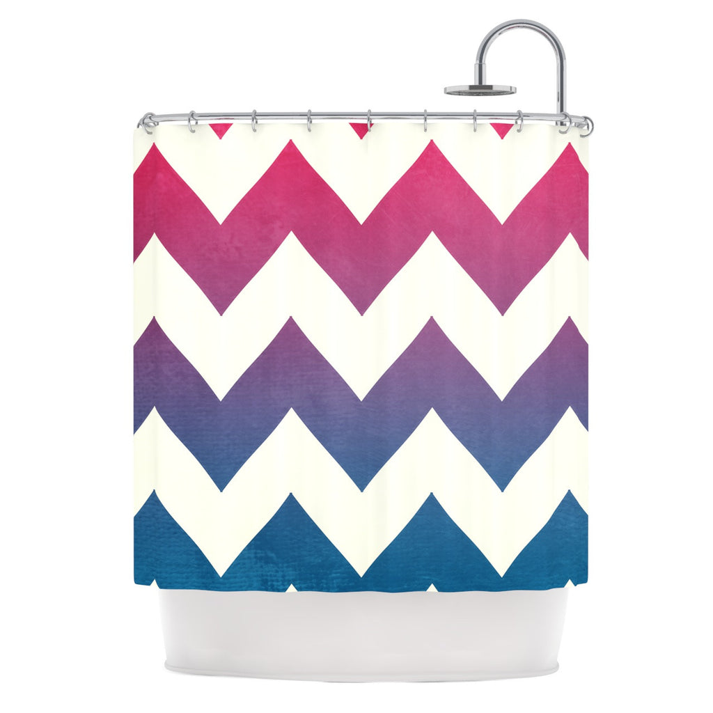 "Catherine McDonald ""Fade to Blue"" Chevron Shower Curtain - KESS InHouse"