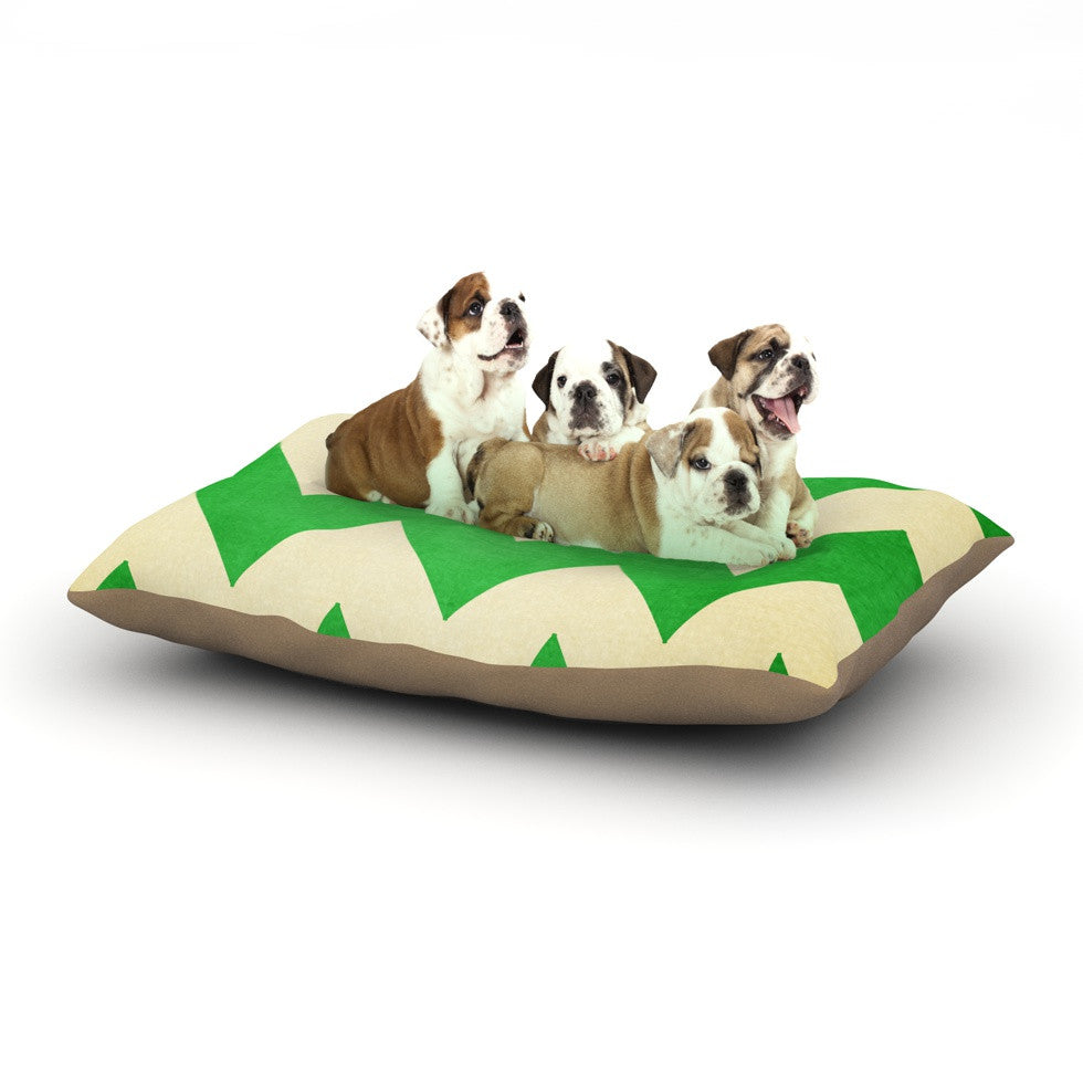 "Catherine McDonald ""Granny Smith"" Green Chevron Dog Bed - KESS InHouse  - 1"