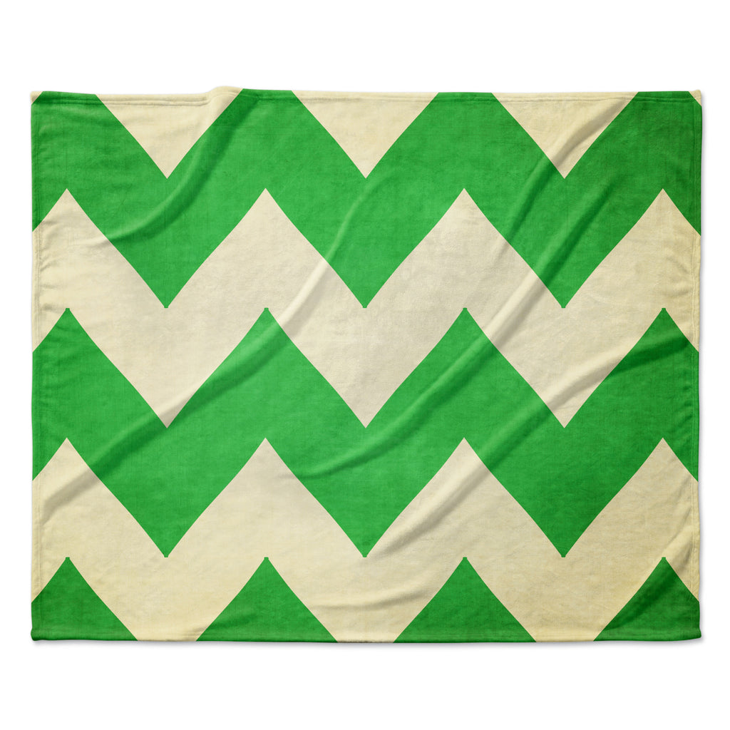 "Catherine McDonald ""Granny Smith"" Green Chevron Fleece Throw Blanket"