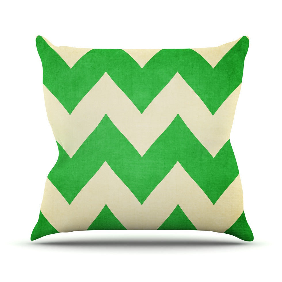 "Catherine McDonald ""Granny Smith"" Green Chevron Outdoor Throw Pillow - KESS InHouse  - 1"