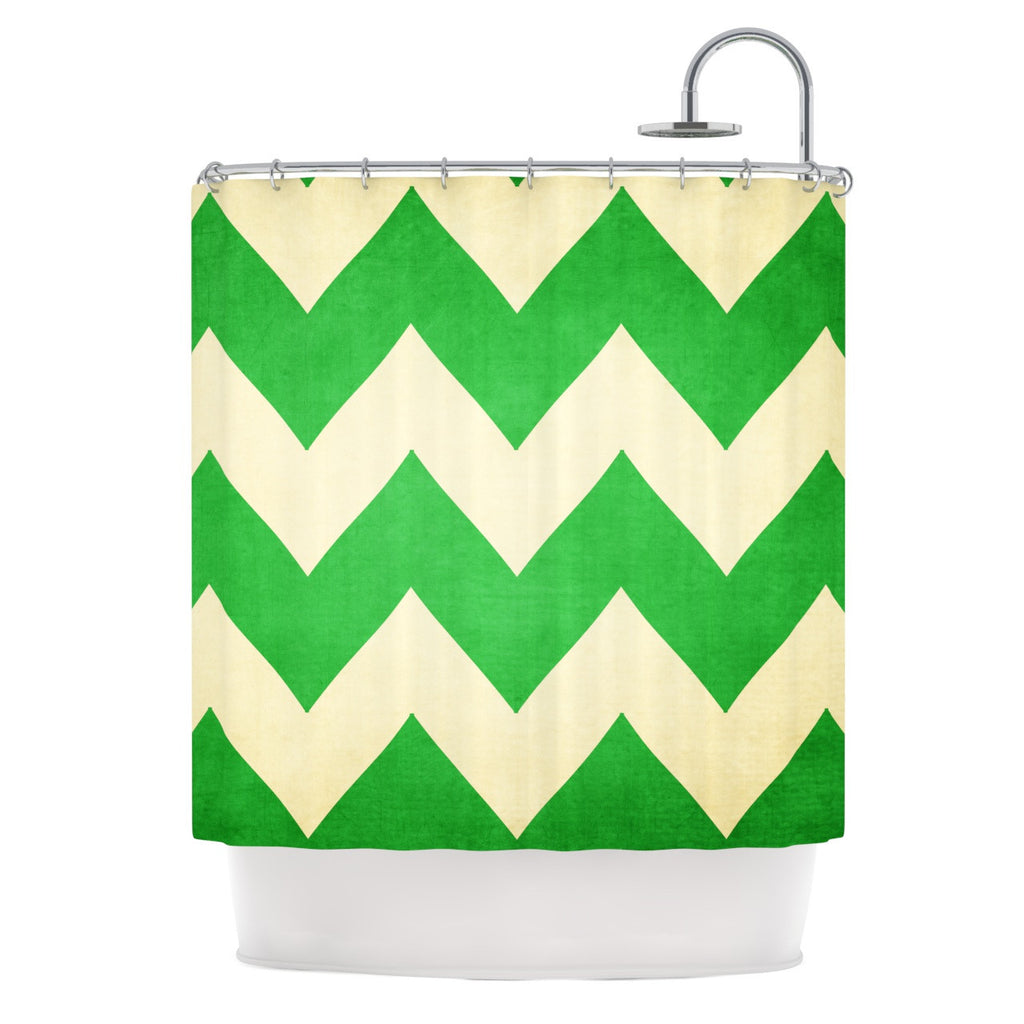 "Catherine McDonald ""Granny Smith"" Green Chevron Shower Curtain - KESS InHouse"