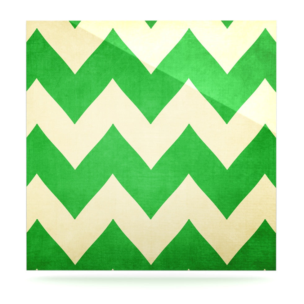 "Catherine McDonald ""Granny Smith"" Green Chevron Luxe Square Panel - KESS InHouse  - 1"