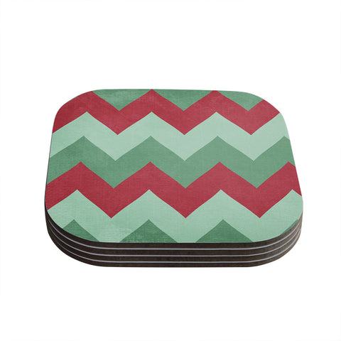 "Catherine McDonald ""Holiday Chevrons"" Coasters (Set of 4) - Outlet Item"
