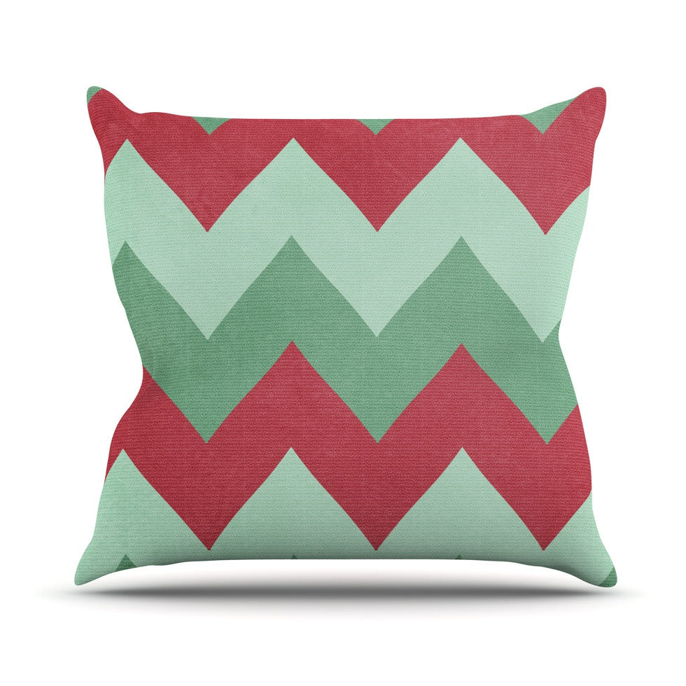 "Catherine McDonald ""Holiday Chevrons"" Throw Pillow - KESS InHouse  - 1"