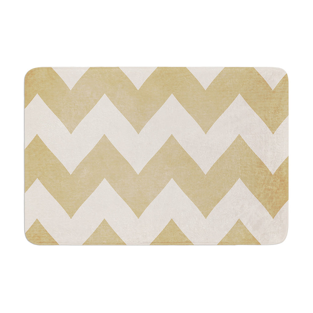 "Catherine McDonald ""Biscotti and Cream"" Chevron Memory Foam Bath Mat - KESS InHouse"