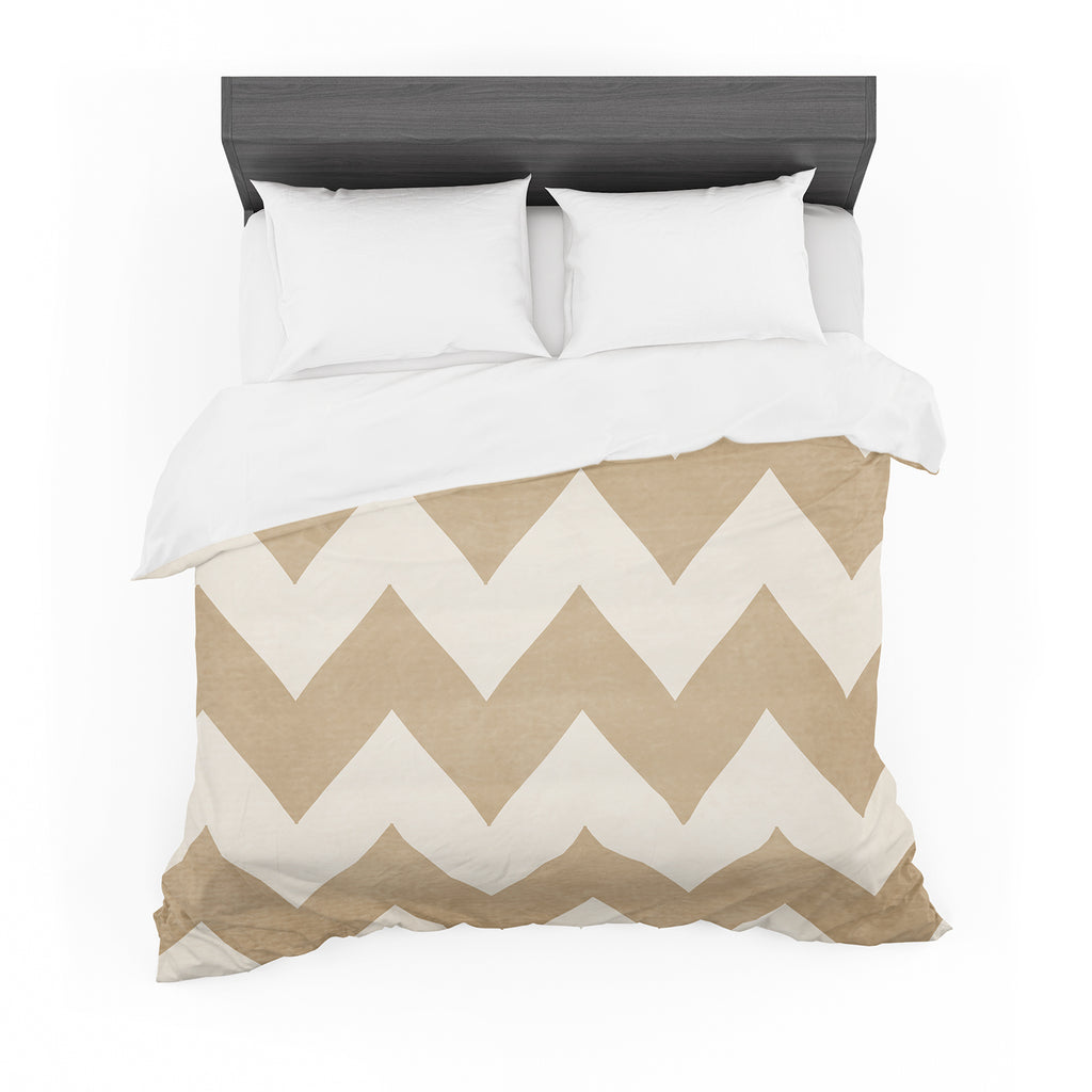 "Catherine McDonald ""Biscotti and Cream"" Chevron Featherweight Duvet Cover"