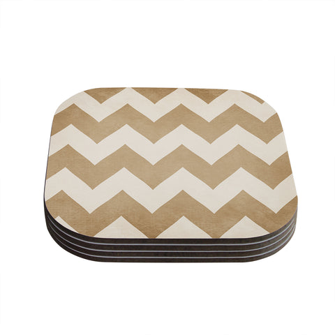 "Catherine McDonald ""Biscotti and Cream"" Chevron Coasters (Set of 4) - Outlet Item"