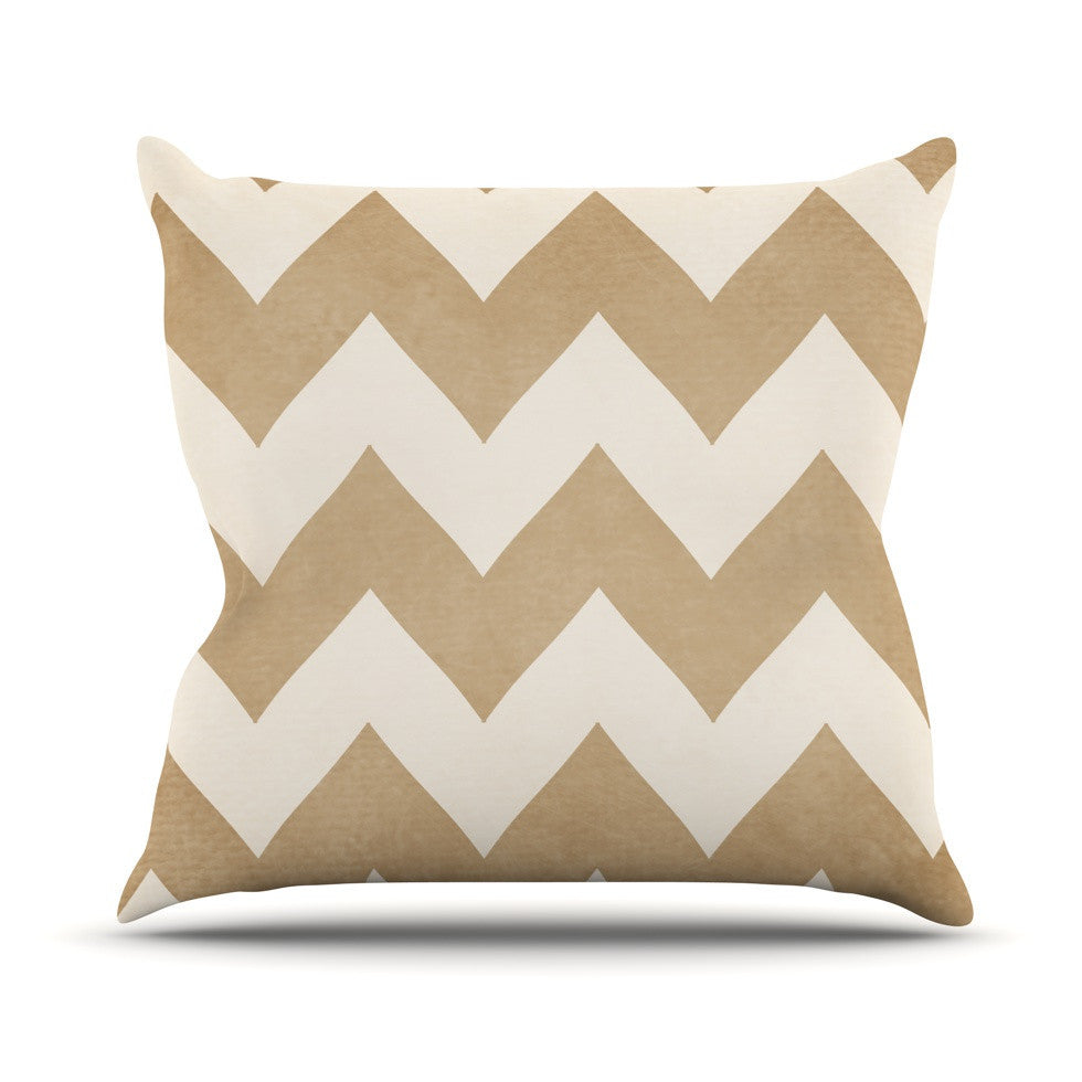 "Catherine McDonald ""Biscotti and Cream"" Chevron Outdoor Throw Pillow - KESS InHouse  - 1"