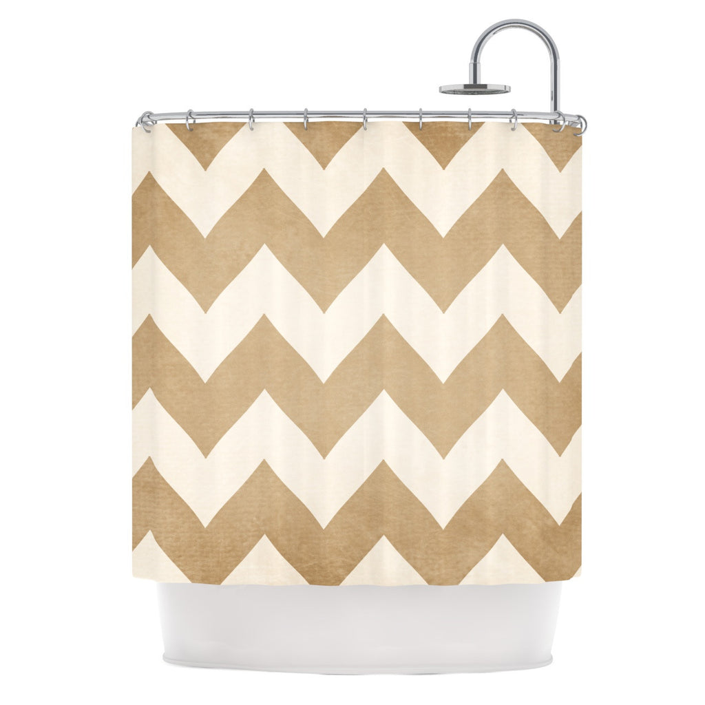 "Catherine McDonald ""Biscotti and Cream"" Chevron Shower Curtain - KESS InHouse"