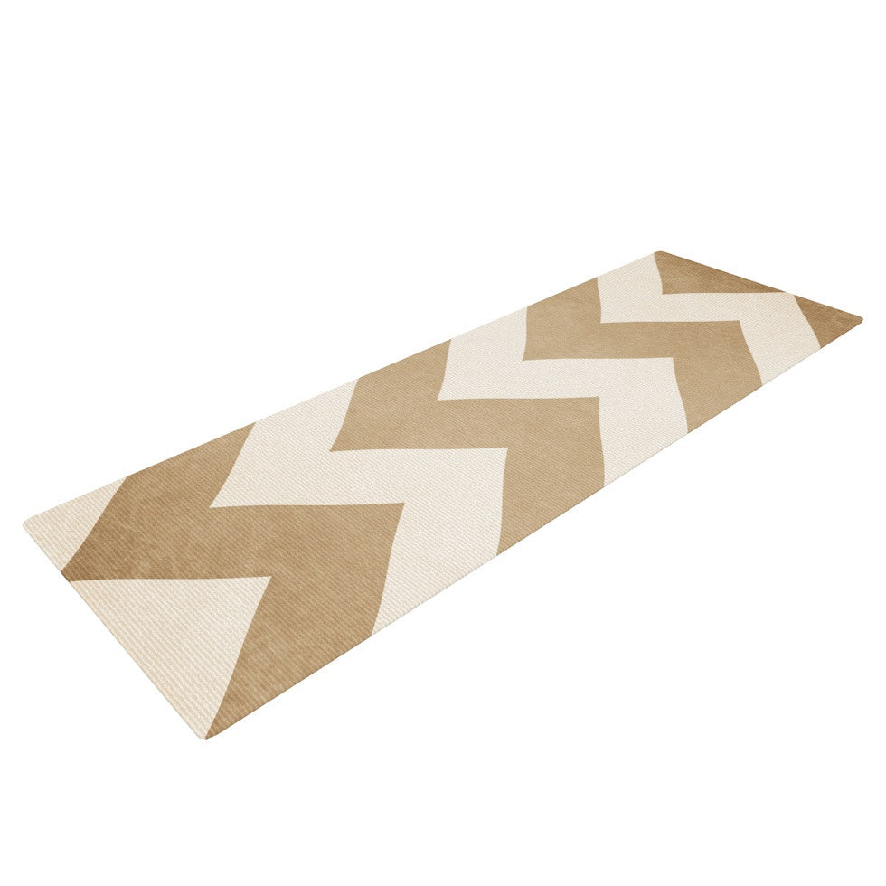 "Catherine McDonald ""Biscotti and Cream"" Chevron Yoga Mat - KESS InHouse  - 1"