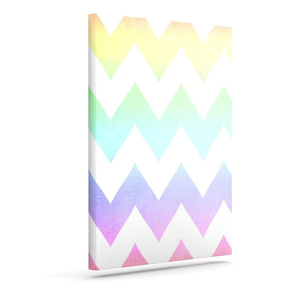 "Catherine McDonald ""Water Color"" Chevron Outdoor Canvas Wall Art - KESS InHouse  - 1"