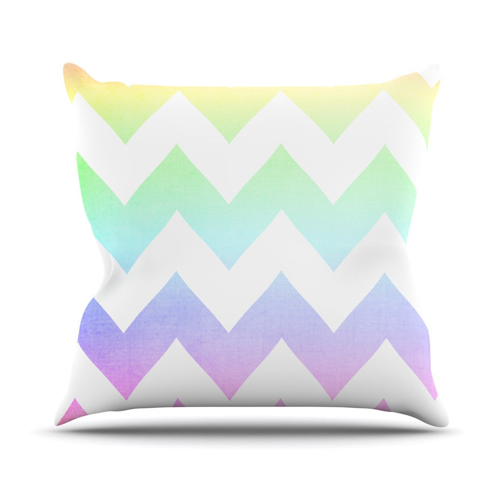 "Catherine McDonald ""Water Color"" Chevron Outdoor Throw Pillow - KESS InHouse  - 1"