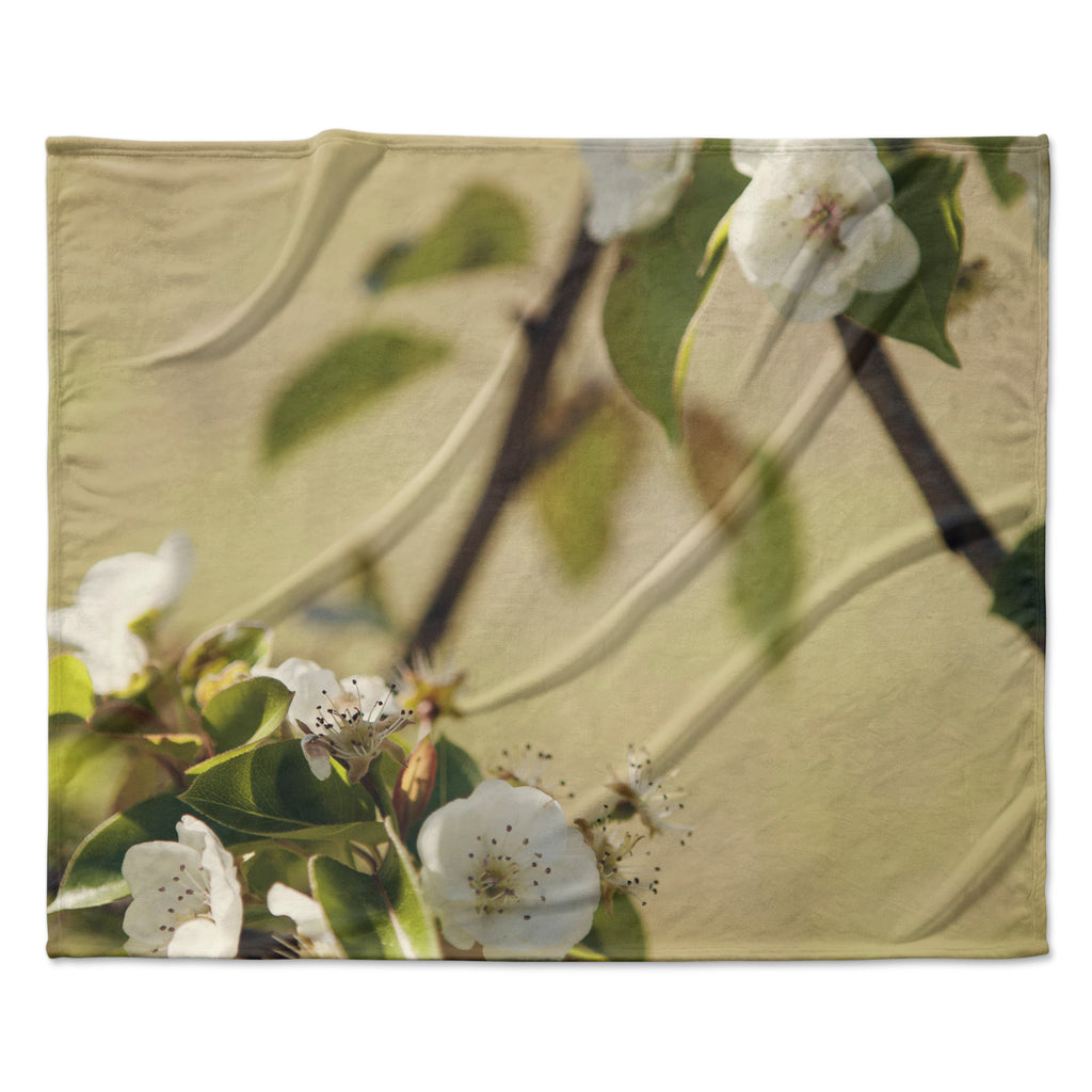 "Catherine McDonald ""Pear Blossom"" Fleece Throw Blanket"