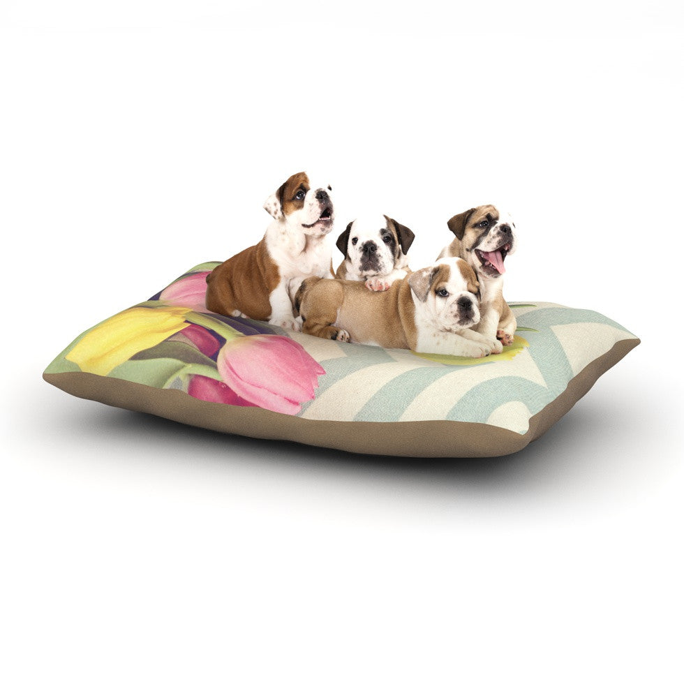 "Catherine McDonald ""Tulips and Chevrons"" Dog Bed - KESS InHouse  - 1"